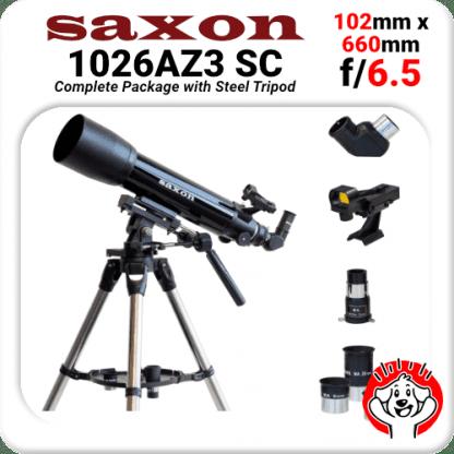 Saxon, Skywatcher alternative, 1026AZ3, Altitude Azimuth, ALT AZ, 102mm, Refractor, 660mm, f/6.5, Steel Tripod, Whale Watching, Veranda, Best