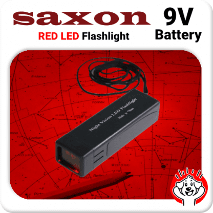 Saxon 9V Red LED Flashlight for Nightvision, Astrophotography, Starcharts, Maps