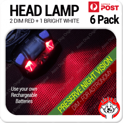 6 Pack Best Red LED Headlamp Nightvision Astronomy Dim